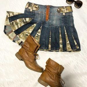 denim and camo pleated mini jean skirt